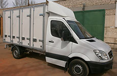 Warm body of the van for the transport of bread on the chassis of the vehicle Mercedes Sprinter 313