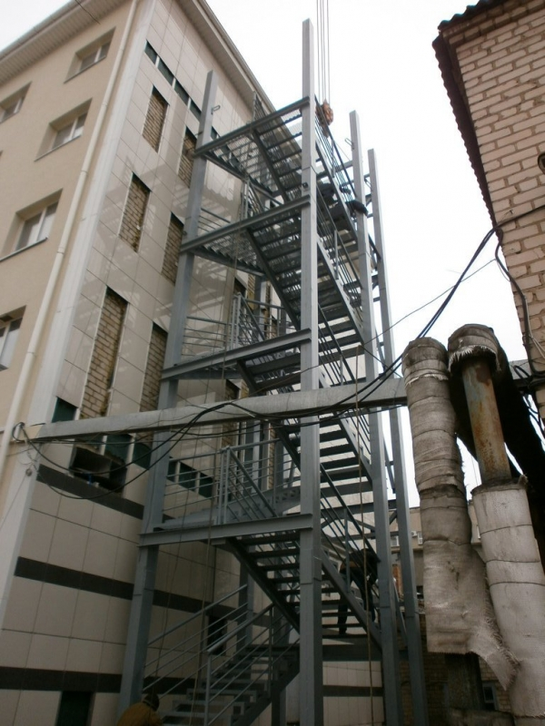Fire escape staircase metal structure