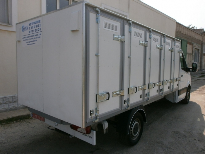 insulated Bakery Delivery Van with holding capacity of 120 bakery cases (4-door box) based on Mercedes Sprinter 313 light truck frame