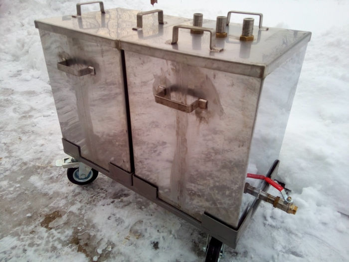 Trolley with Stainless Steel Containers designed for transportation of glue